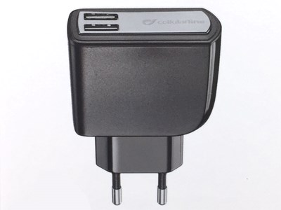 220V Adapter med 2 USB udgange 3,1A - Sort