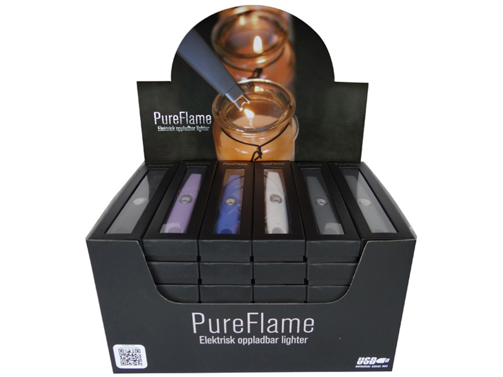 PureFlame - Display med 36 stk. USB lightere